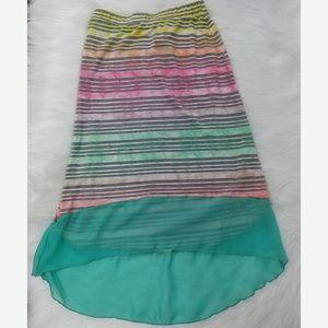 Lily Bleu Girls Skirt High Low Aqua Striped